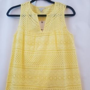 NWT Lucky Brand Yellow Sleveless Eyelet Top Sz XS